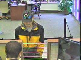 Police were checking with local hospitals because they think the robber may have suffered injuries from the dye pack.