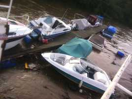 The section of the dock, which had 10 recreational boats attached to it, came free at Birdie's Landing marina on the Youghiogheny River in Port Vue and entered the Mon River.