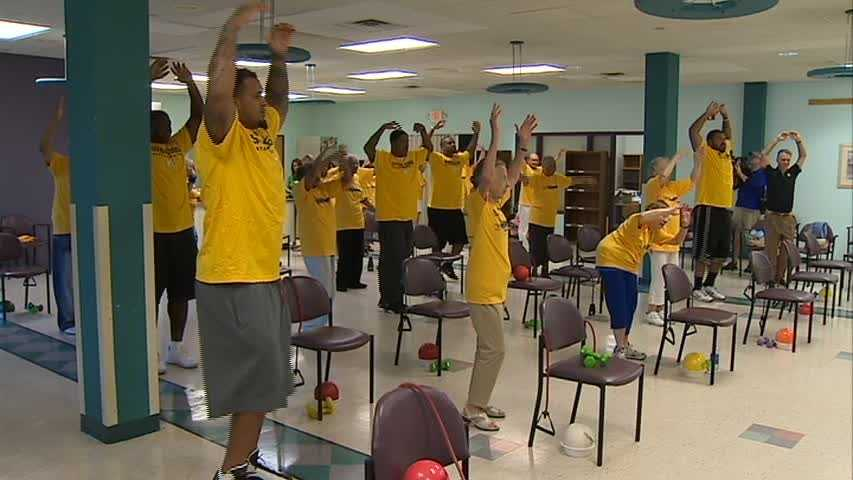img-Steelers work out at senior center