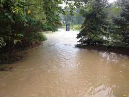 A section of Monroeville was flooded when storms popped up across western Pennsylvania on Wednesday afternoon.