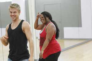"DEREK HOUGH & AMBER RILEY - This season's dynamic lineup of stars -- including a sitcom legend, a reality mega-star, a football champion and a pop music sensation - will perform for the first time on live national television with their professional partners during the two-hour season premiere of ""Dancing with the Stars. (Photo Credit: ABC/Rick Rowell)"
