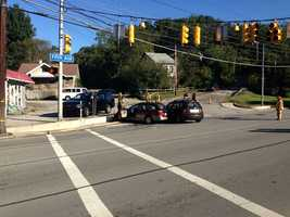 Two cars collided at the intersection of Westinghouse and Fifth avenues in North Versailles.