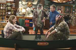 Mike finds that Mandy's steady boyfriend Kyle's new interest in philosophy is distracting him from his work at The Outdoor Man Store. A solution may be in the offing when camo-wearing and regular customers Brody (Willie Robertson) and Uncle Ray (Si Robertson) come to the sporting goods store to get outfitted for their annual moose hunting expedition. Meanwhile, Mike is skeptical about his grandson Boyd attending a bilingual school and wants Kristin and Ryan to switch Boyd to a school in his neighborhood. (Photo: ABC/Michael Ansell)