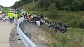 A cement mixer rolled over Monday afternoon in Big Beaver, leaving the driver dead.