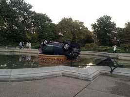 Pilyih said the driver was involved in a minor accident with another vehicle on Highland Avenue, near Bryant Street, before the crash. He then continued toward the park at 30 to 40 mph, driving through a garden and hitting a bench before flipping into the fountain, Pilyih said.