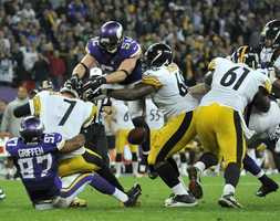 Ben Roethlisberger fumbled the ball when Emerson Griffin sacked him on the Steelers' final drive.
