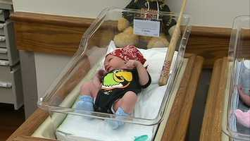 The staff at St. Clair Hospital dressed the newborns in onesies featuring the Pirate Parrot to celebrate the team's return to the playoffs for the first time since 1992.