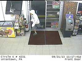 The incident happened Sept. 21. The timestamp on the surveillance video says 11:17 p.m. Anyone who has a tip about the case or can help identify the man is asked to call state police in Uniontown.