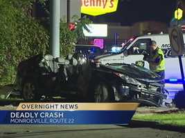 A 54-year-old man was killed in a two-car crash on Route 22, near Duff Road, in Monroeville early Saturday morning.