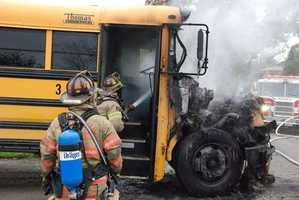 The school bus was carrying students from the Charleroi Area School District when it started smoking about 3:45 p.m. on Huber Road in West Pike Run Township.