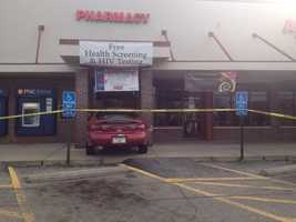 A car crashed into the entrance of a Hill District pharmacy operated by Duquesne University on Thursday morning.