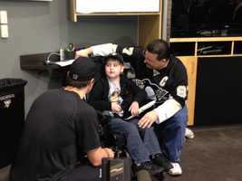Eighteen months after being diagnosed with an inoperable brain tumor, there he was in the Penguins locker room talking to his favorite player, captain Sidney Crosby.