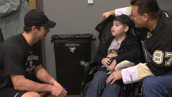 As a special guest at Consol Energy Center in October, Matthew Jacko met his favorite hockey player, Sidney Crosby, in the Penguins' locker room.