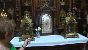 One reliquary holds a bone chip from each of Jesus' 12 apostles.