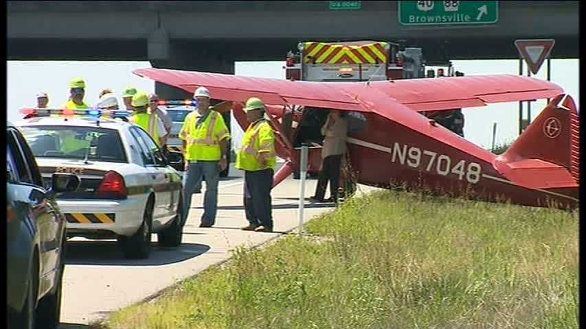 img-plane lands on Mon-Fayette Expressway