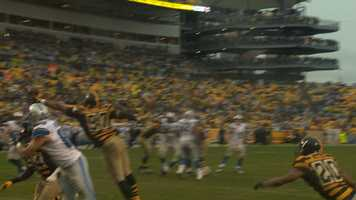 Cam Heyward gets a hand on a Matthew Stafford pass