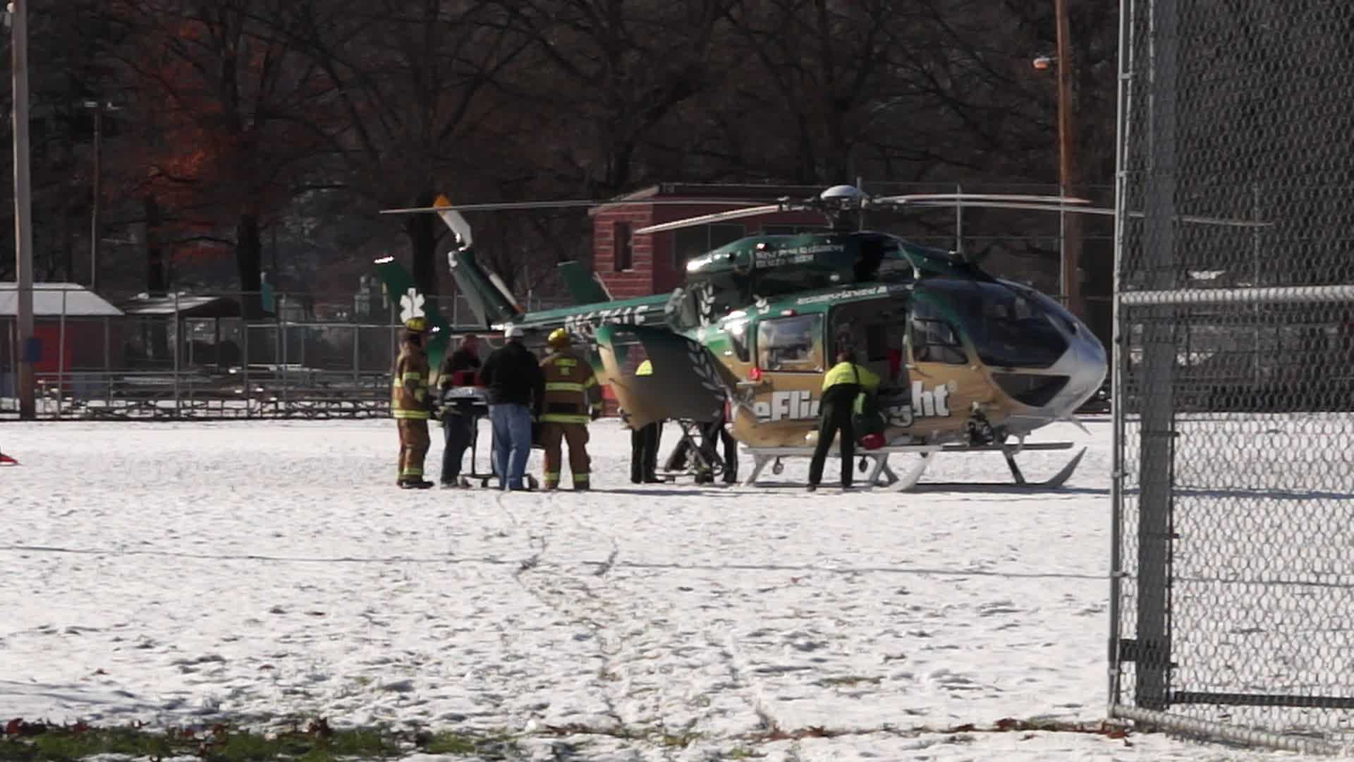 medical helicopter at Arnold shooting