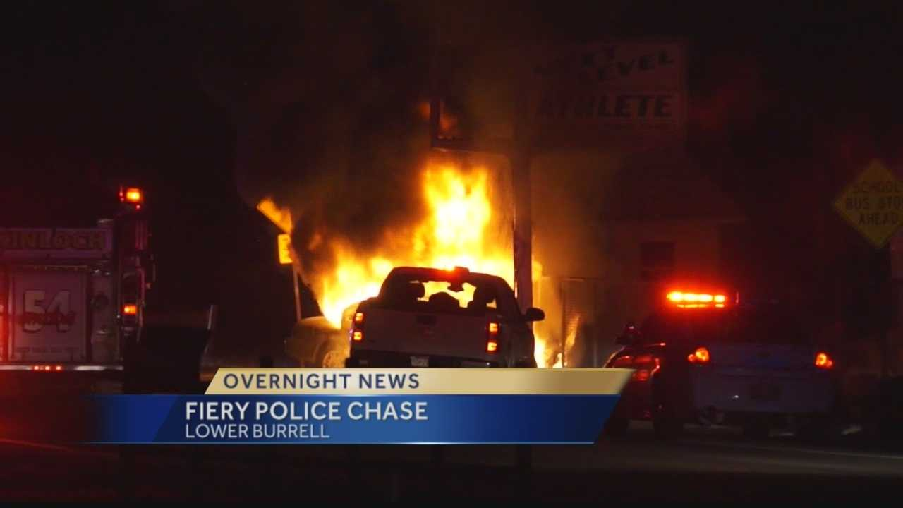 Car bursts into flames as chase ends in Lower Burrell