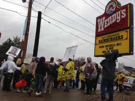 The protest outside McDonald's and Wendy's on Allegheny Avenue was one of many demonstrations taking place across the U.S. amid a push for higher wages.