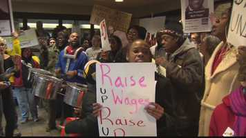 Workers and labor organizers were marching, waving signs and chanting in Market Square and cities across the country Thursday amid a push for higher wages.