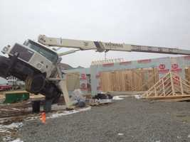 Only wood frame was in place when the crane accident happened.