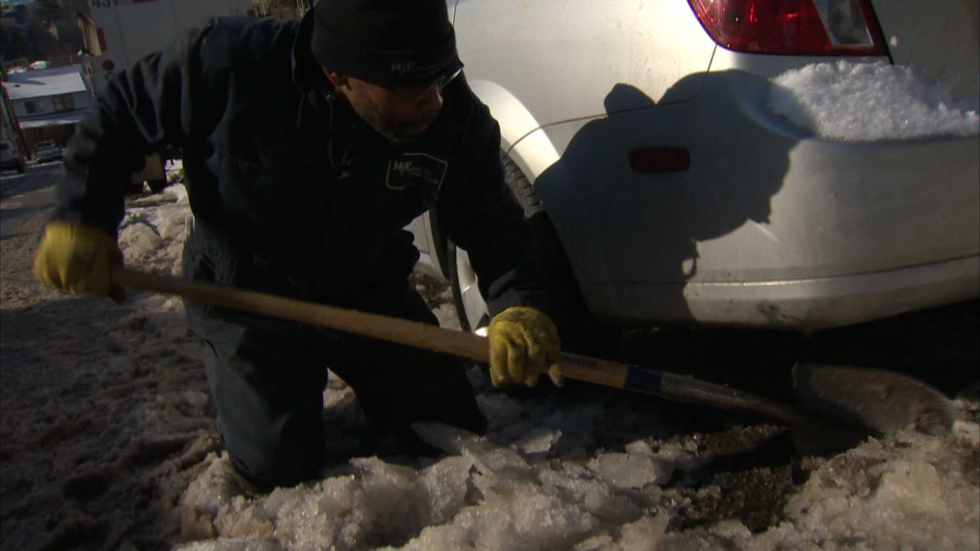 digging car out from ice