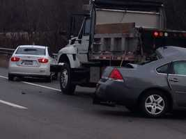 Two cars and a city of Pittsburgh truck were involved in the accident on Route 28.