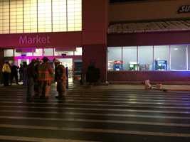 The market entrance to the Walmart in North Versailles was closed Monday night after a driver crashed into the building.