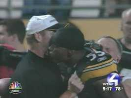 Sept. 7. 2006: Joey Porter puts the Miami Dolphins away with a fourth-quarter interception return for a touchdown ... then goes over to the Heinz Field sideline and plants a kiss on coach Bill Cowher's neck.