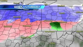 Map Color Code: White, Purple, & Grey = Snow | Pink = Sleet & Ice | Green, Yellow, & Red = Rain