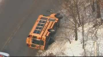 A school bus crashed onto its side on Pittsburgh Street in Derry Township.