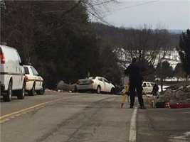 A ground view of the crash scene on Route 981.