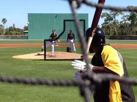 Josh Harrison takes batting practice