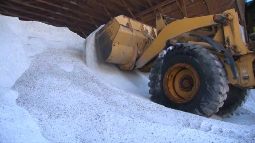 salt pile with truck
