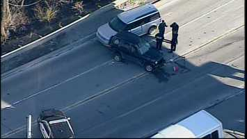 Sky 4 flew over the area, where the front of an SUV had collided with the back of a Jeep. The front tire on the driver's side of the Jeep was also sheared off.