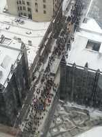 An aerial view of the protest from PPG Place.