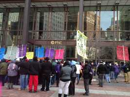 Hundreds of protesters organized by the SEIU gathered outside the UPMC corporate offices in downtown Pittsburgh for a second straight day.