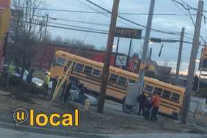 No students were on the bus, which is from Monark Student Transportation and was servicing the Pine-Richland School District.