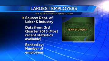 Who are the state's biggest employers? Several of them are in Western Pennsylvania. Here are the Top 50, based on the state's most recent quarterly data.(NOTE: Employers must be covered under the state or federal unemployment compensation system to be included.)