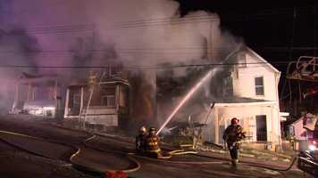 A child died and four homes were damaged by a fast-moving fire in McKeesport.