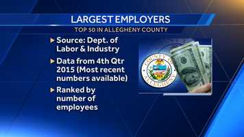 Here are the Top 50 employers in Allegheny County, according to the latest quarterly data released by the state of Pennsylvania.(NOTE: Employers must be covered under the state or federal unemployment compensation system to be included.)