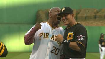 "Mike Tyson takes a ""bite"" out of Pirates catcher Tony Sanchez"