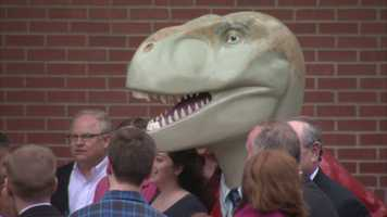 """""""Having Fred-O-Saurus Rex grace the new front entrance of 2100 Wharton Street is a privilege,"""" said Larry Walsh, COO of Rugby Realty. The company acquired the property in late 2012."""