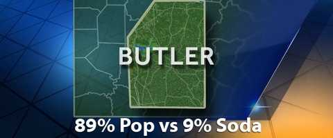 According to PopvsSoda.com survey, Butler County is 89% Pop vs 9% Soda