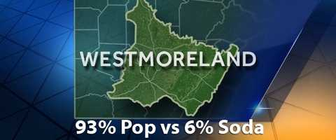 According to PopvsSoda.com survey, Westmoreland County is 93% Pop vs 6% Soda
