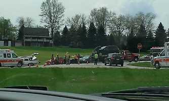 Westmoreland County 911 dispatchers said a four-vehicle accident with injuries was reported Friday on Route 380 in Murrysville. A witness shared this picture on u local.