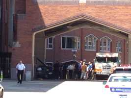 A car crashed into UPMC Mercy hospital on Tuesday morning.