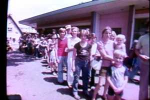 A line of park visitors on WTAE Day at Kennywood in 1979.