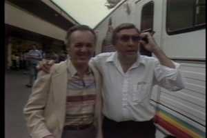 Musician Joe Negri and former WTAE news anchor Adam Lynch at Kennywood Park in 1985.