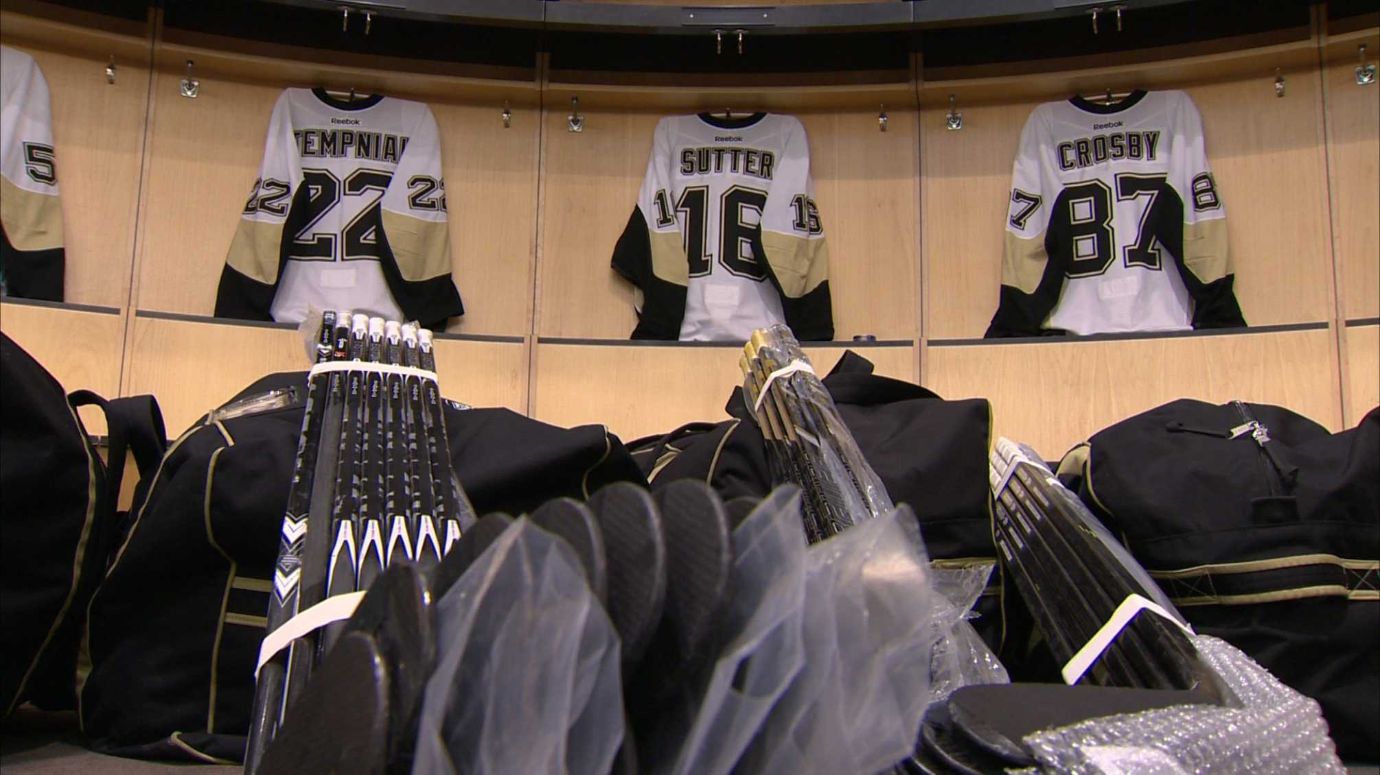 bags packed in Penguins locker room